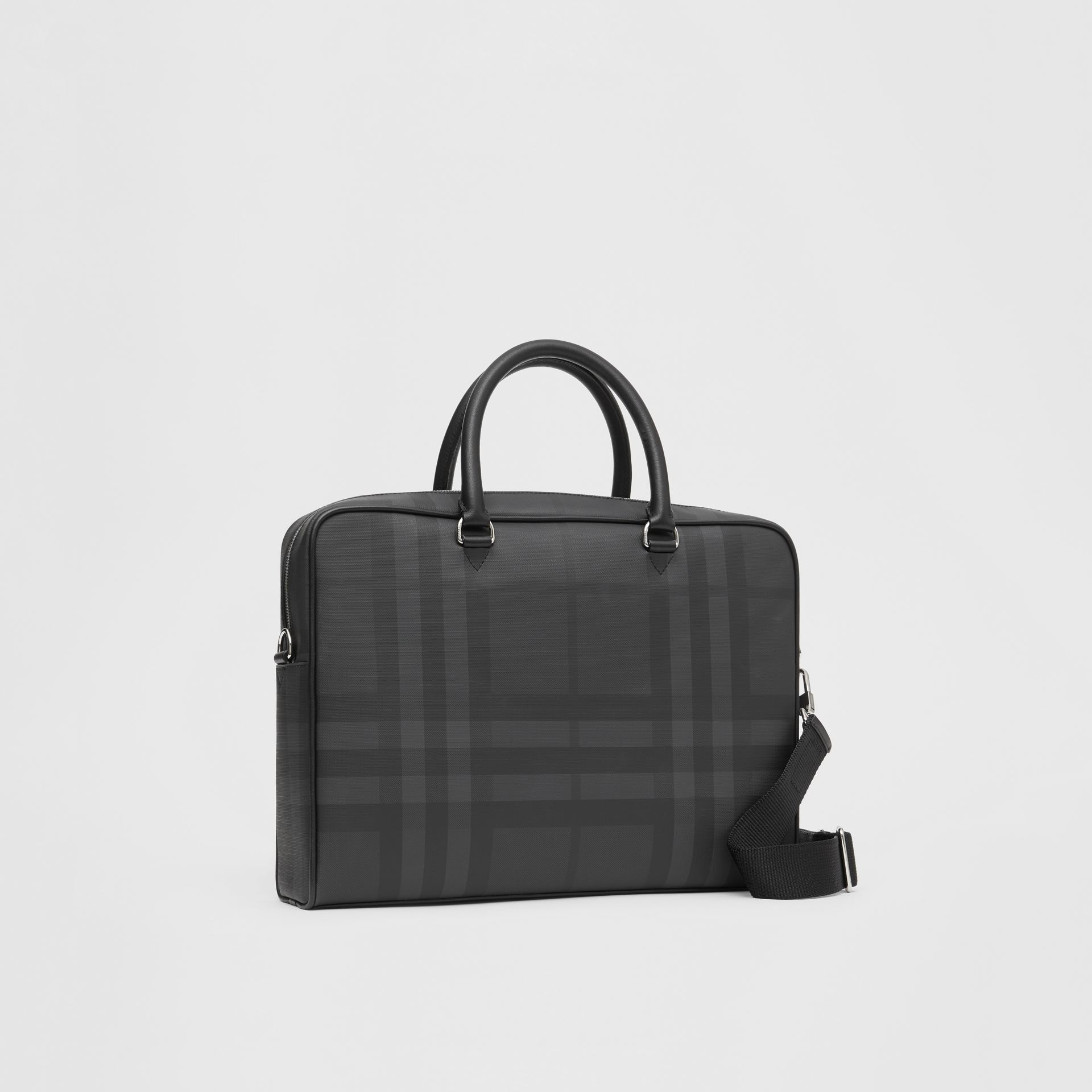London Check and Leather Briefcase in Dark Charcoal - Men | Burberry Hong Kong S.A.R - gallery image 6