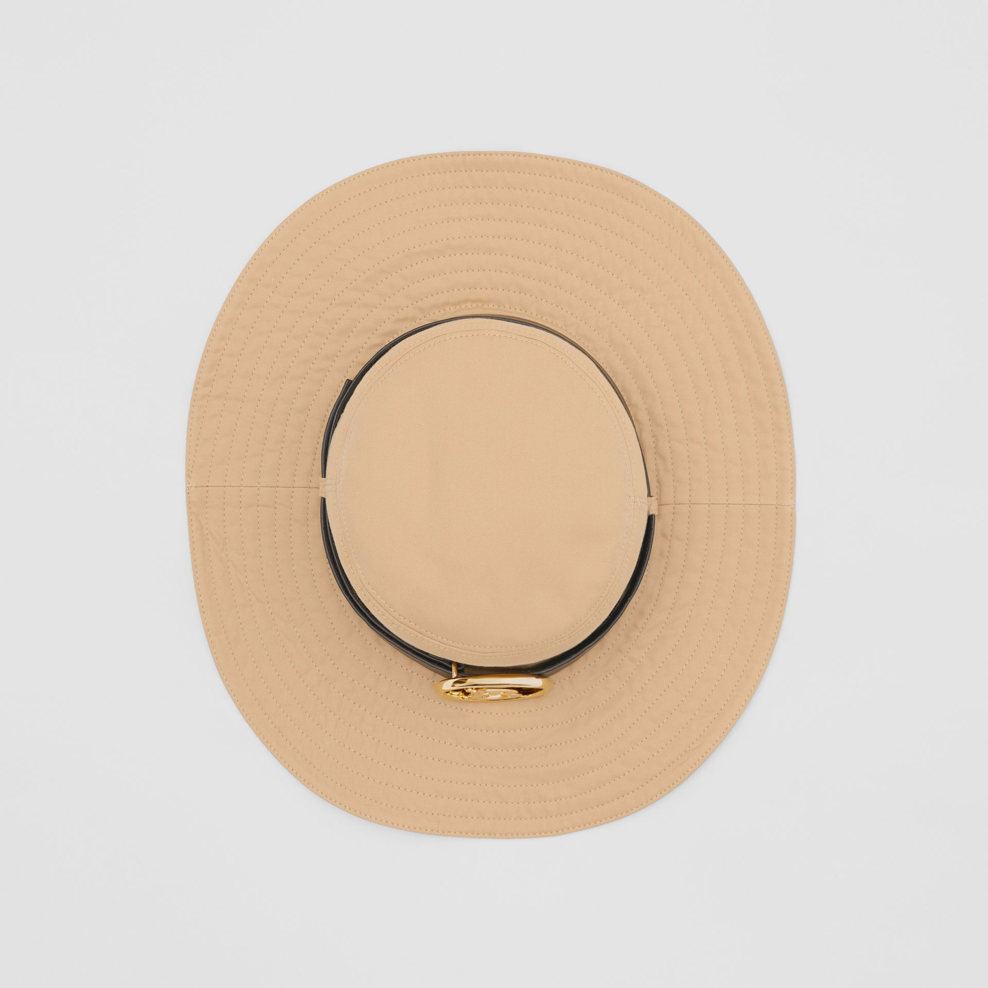 Monogram Motif Leather Belt Detail Cotton Desert Hat in Honey | Burberry Canada - gallery image 0