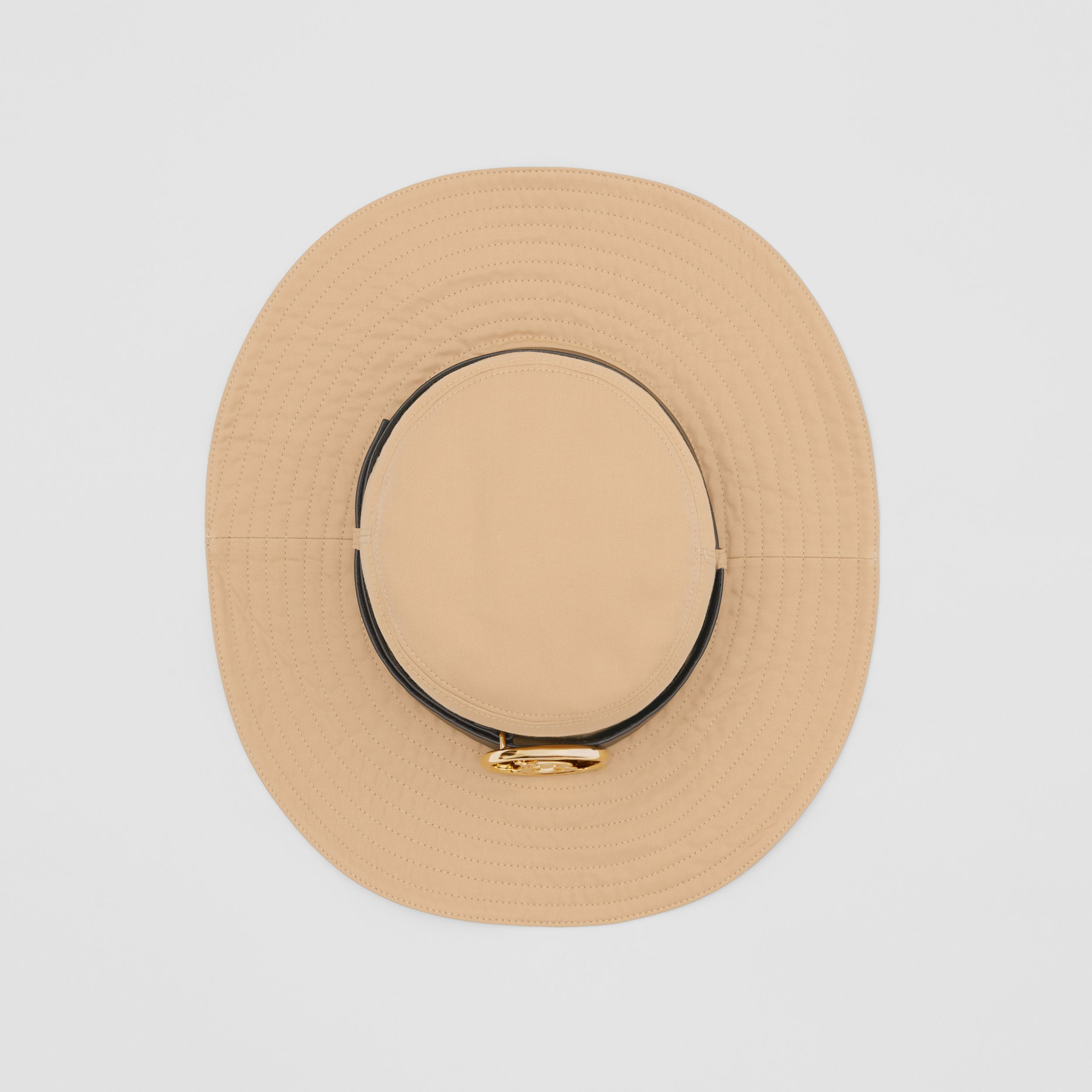 Monogram Motif Leather Belt Detail Cotton Desert Hat in Honey | Burberry - 1