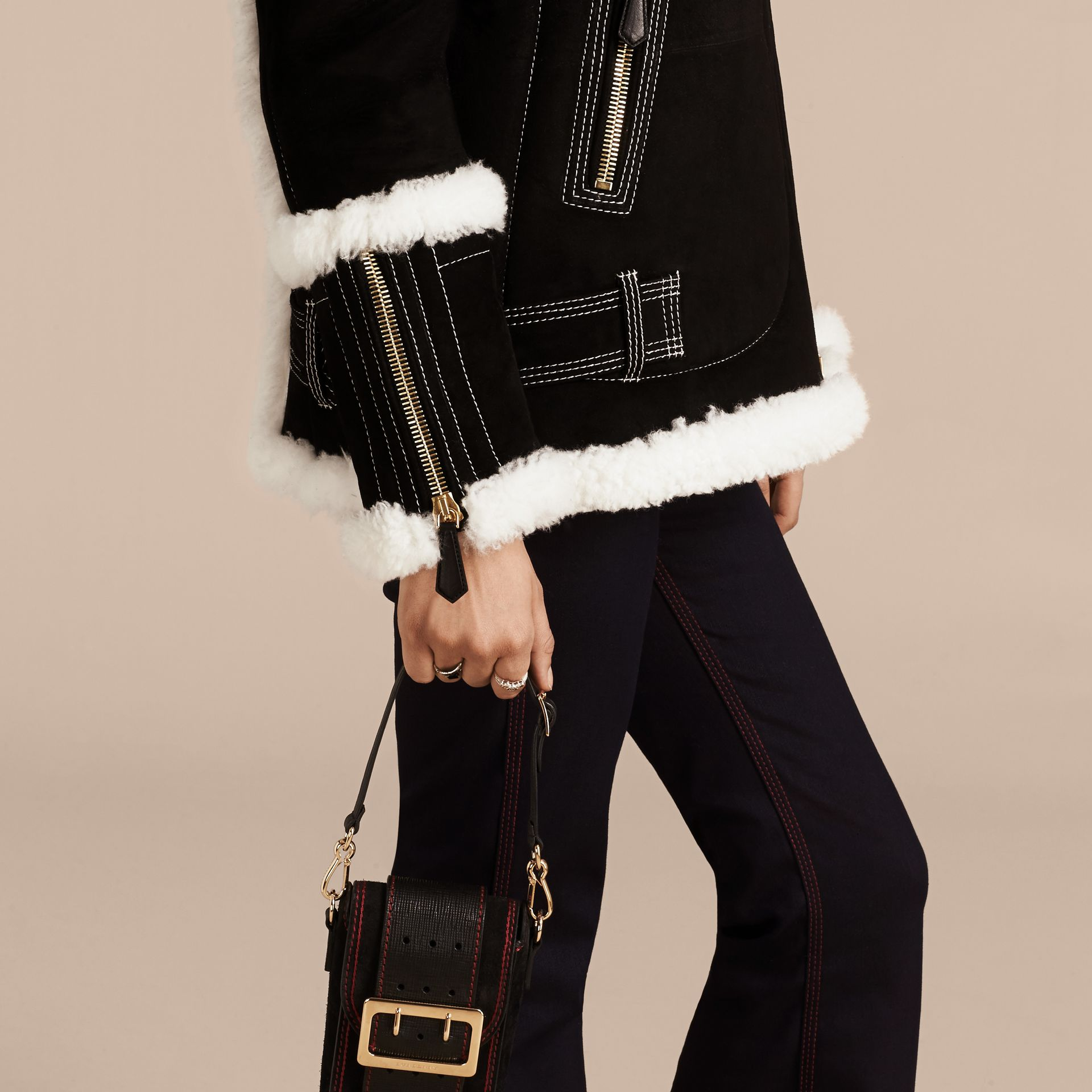 Black Fur-trim Suede and Shearling Aviator Jacket - gallery image 6
