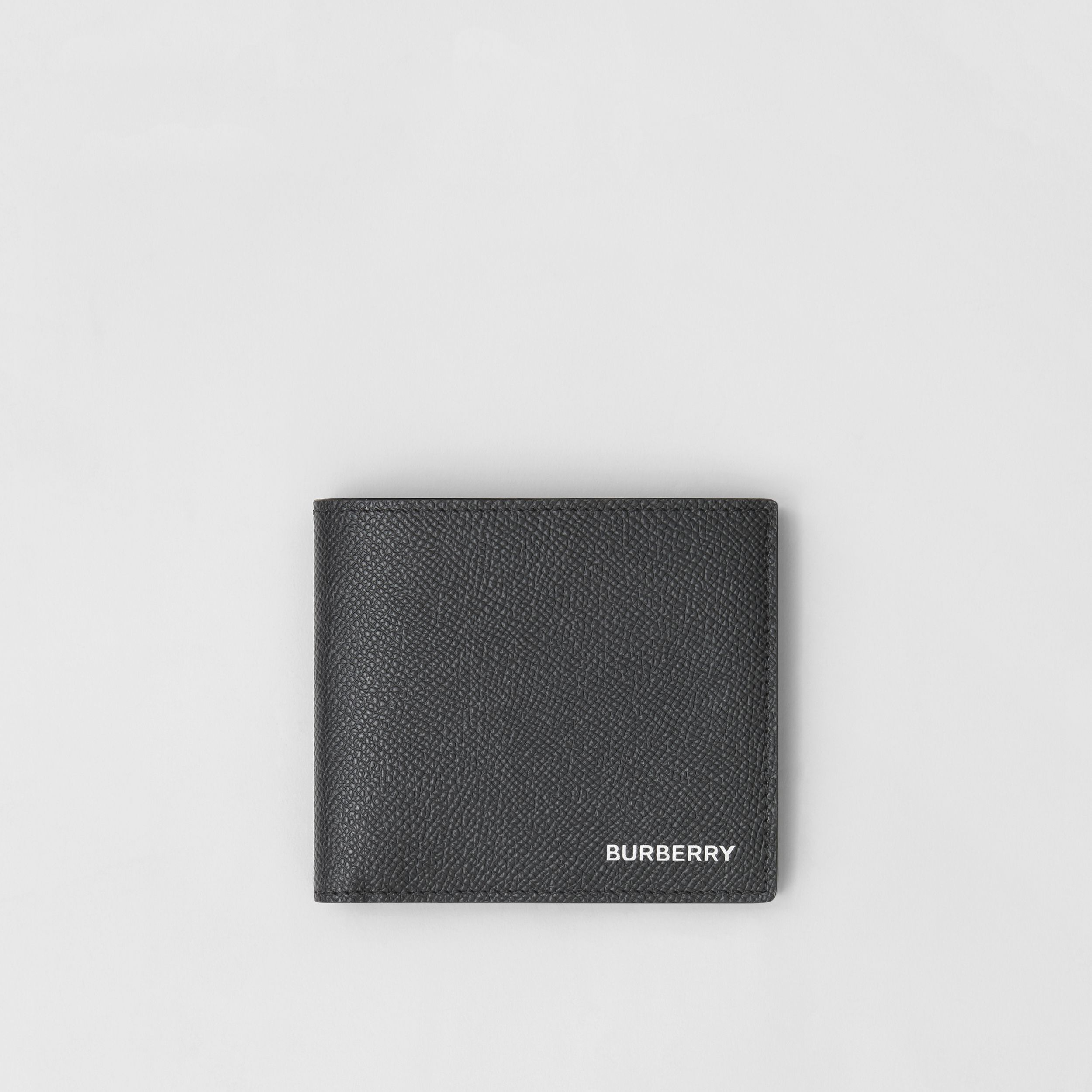 Grainy Leather International Bifold Coin Wallet in Black - Men | Burberry Hong Kong S.A.R. - 1
