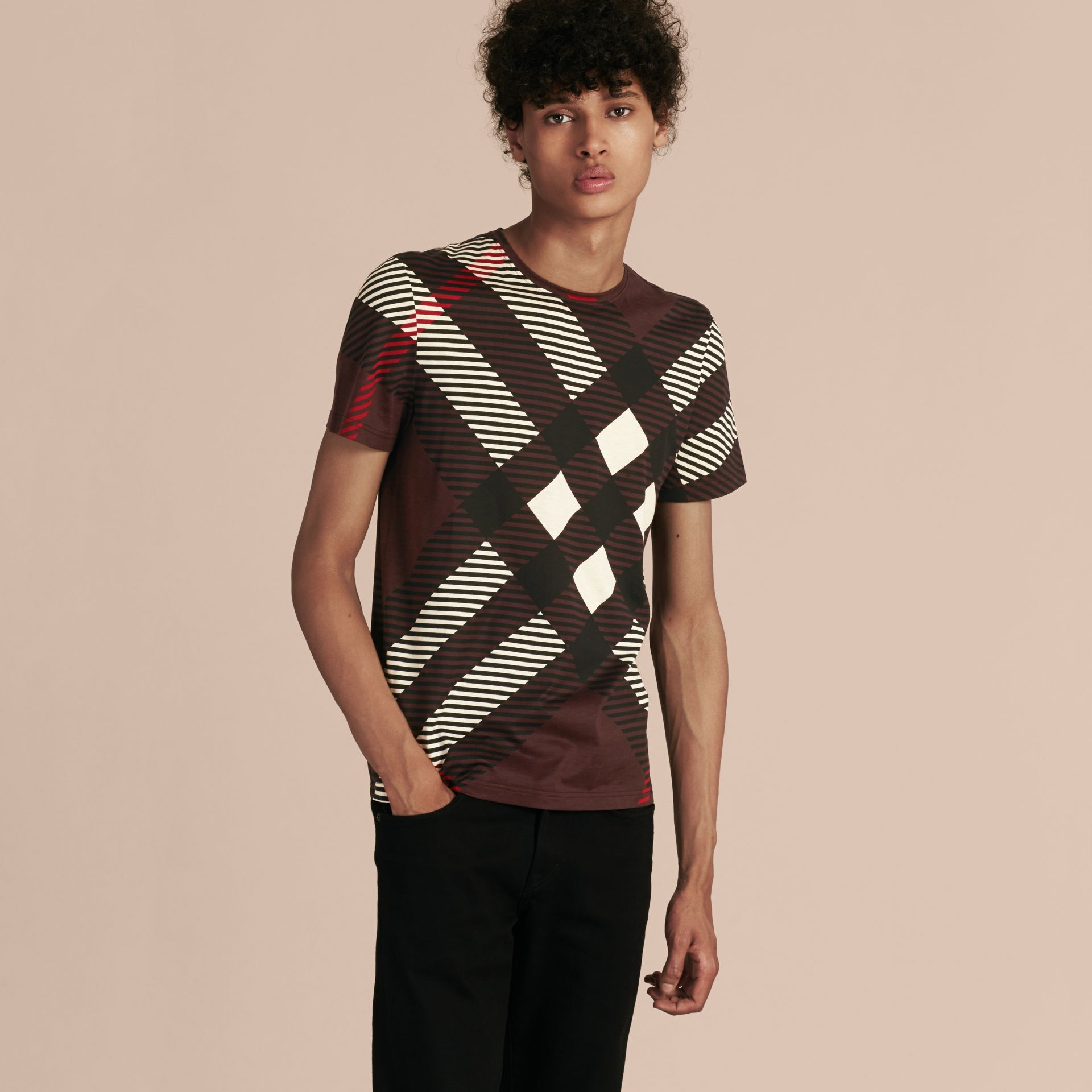 Deep claret Abstract Check Cotton T-Shirt - gallery image 6