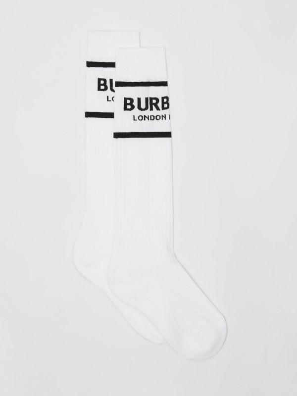 Logo Intarsia Cotton Blend Socks in White | Burberry Singapore - cell image 2