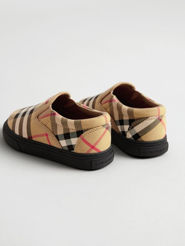 Vintage Check and Leather Slip-on Sneakers in Antique Yellow/black - Children | Burberry Canada - cell image 2