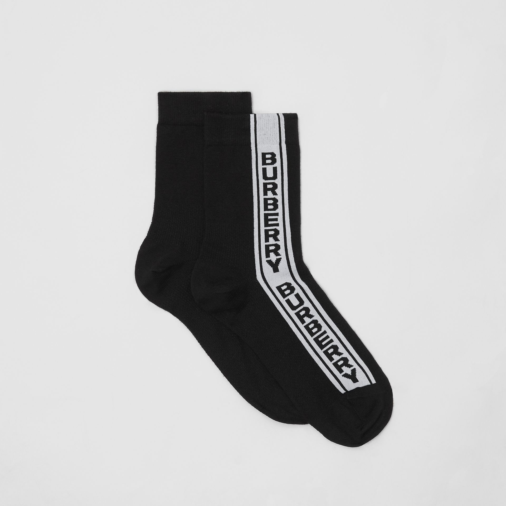Logo Stripe Intarsia Cotton Blend Socks in Black | Burberry - gallery image 2