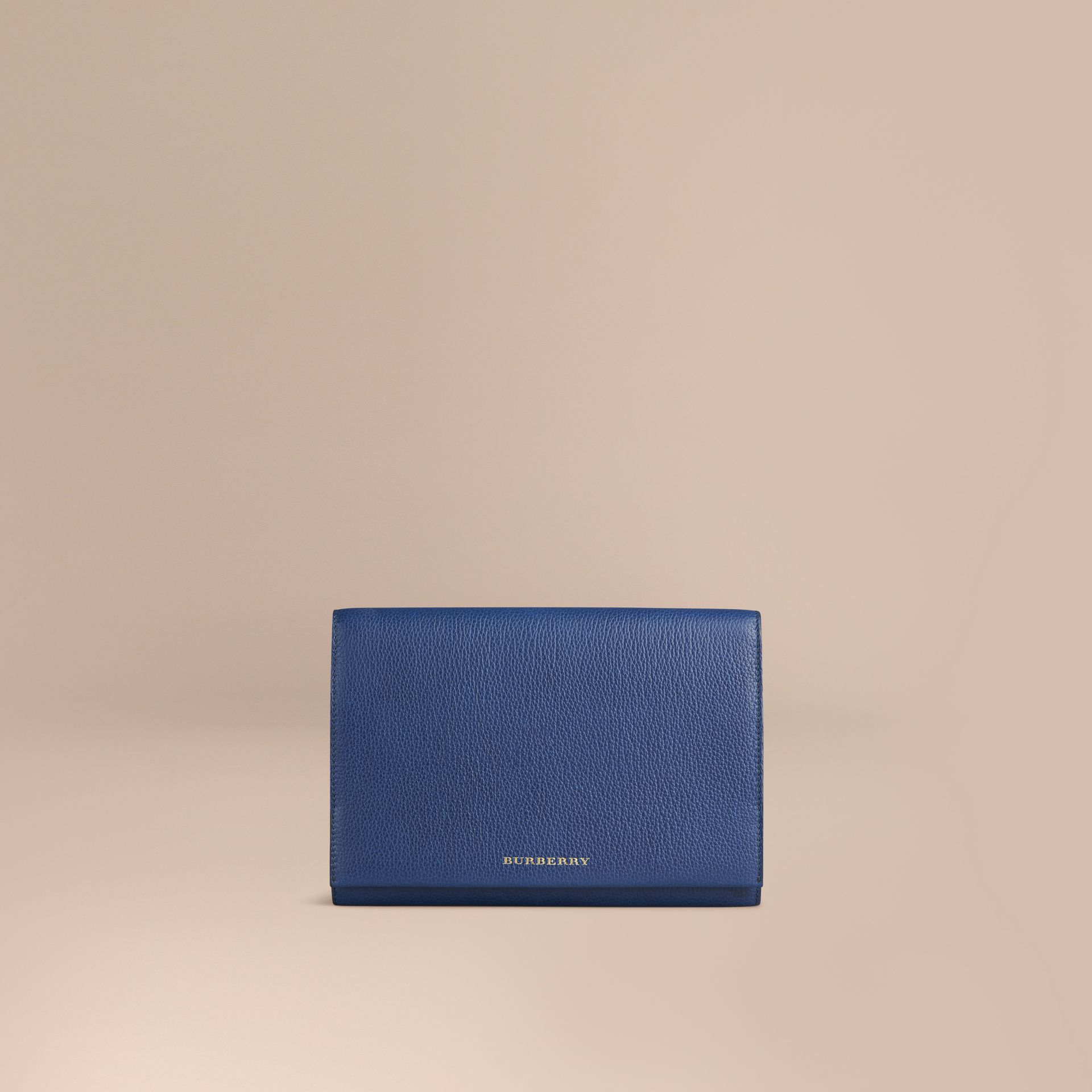 Grainy Leather Travel Wallet in Bright Navy - Men | Burberry Canada - gallery image 1