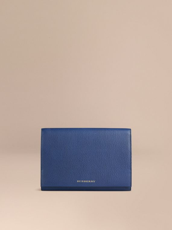 Grainy Leather Travel Wallet in Bright Navy - Men | Burberry