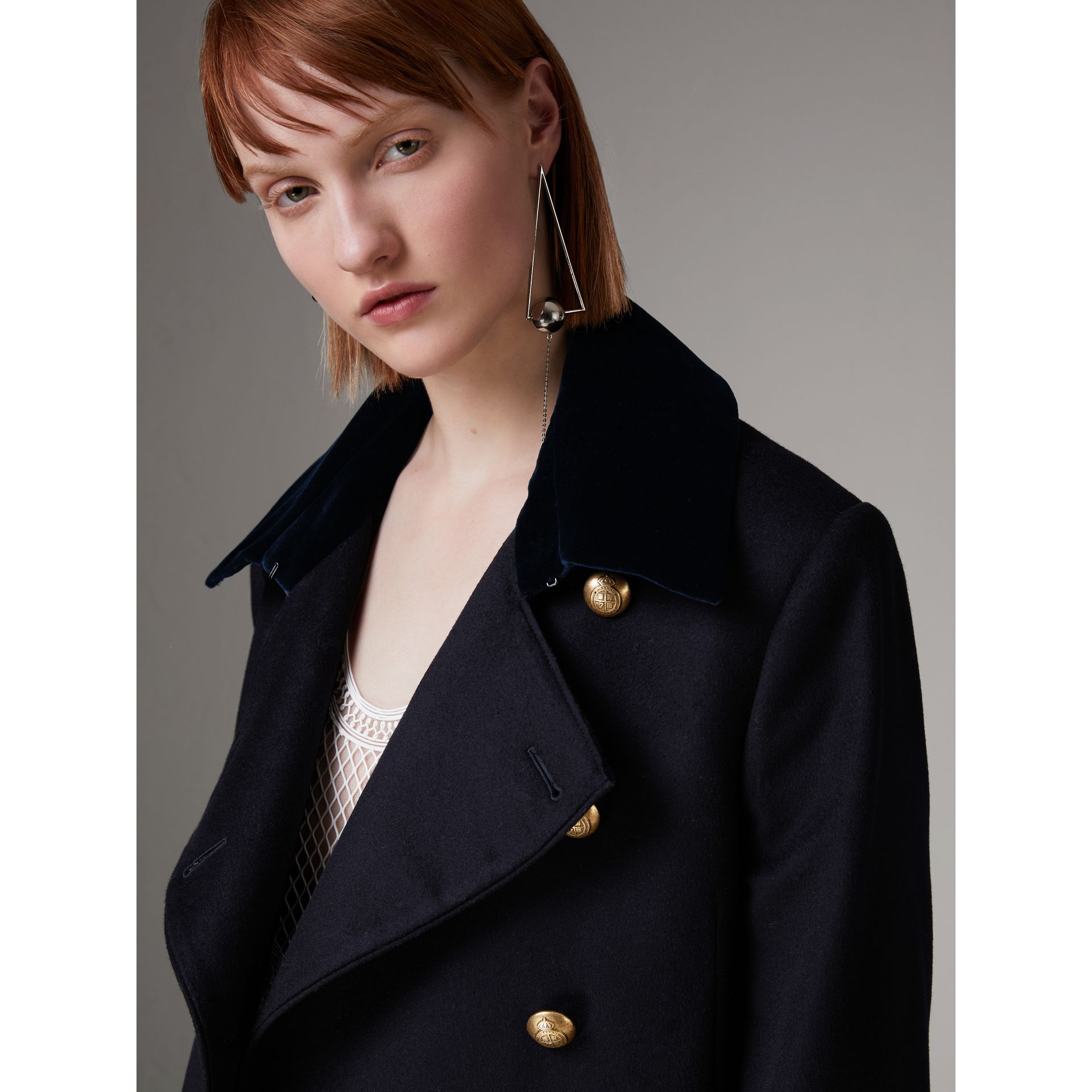 Doeskin Wool Military Coat in Dark Navy - Women | Burberry - gallery image 4