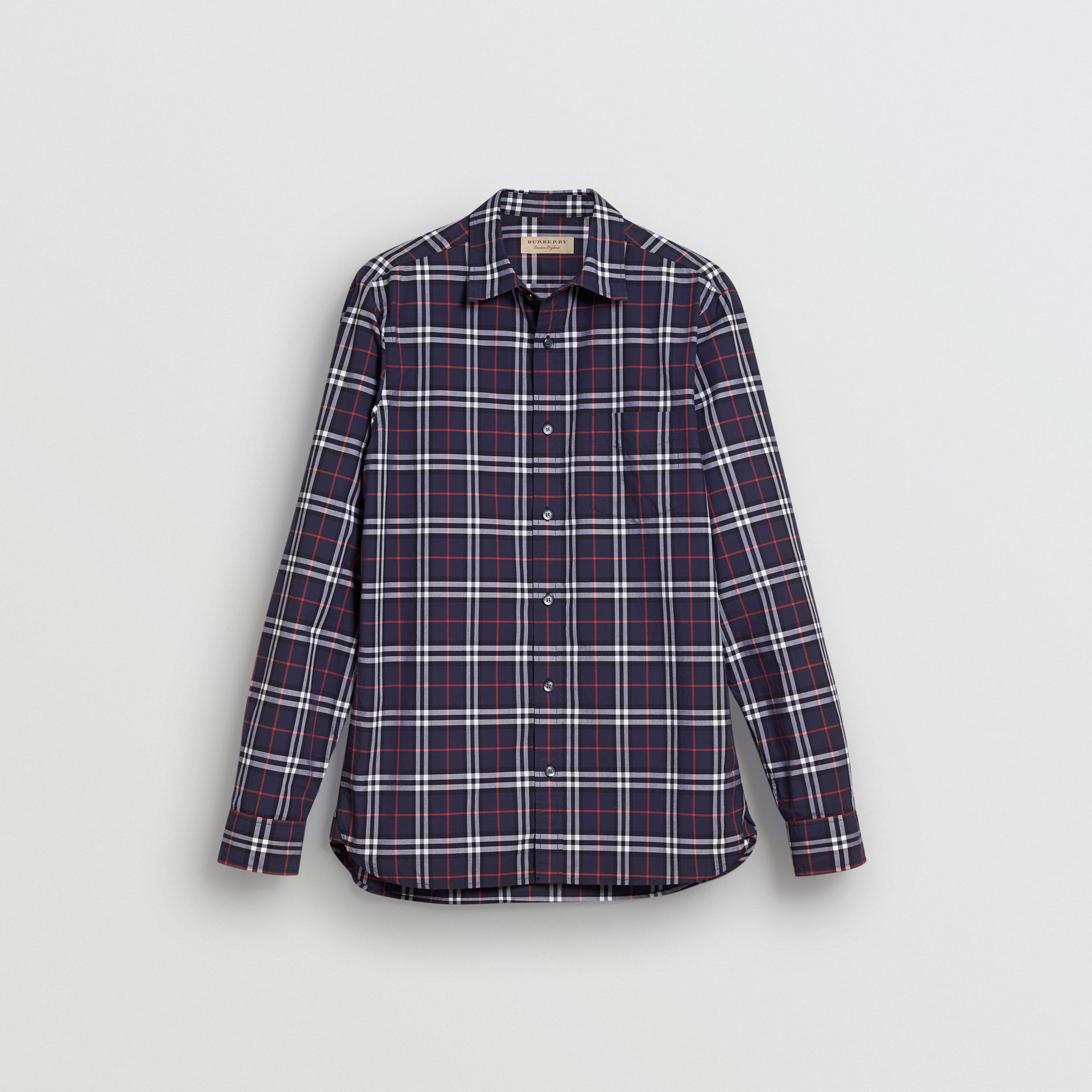 Check Cotton Shirt in Navy - Men | Burberry - gallery image 3