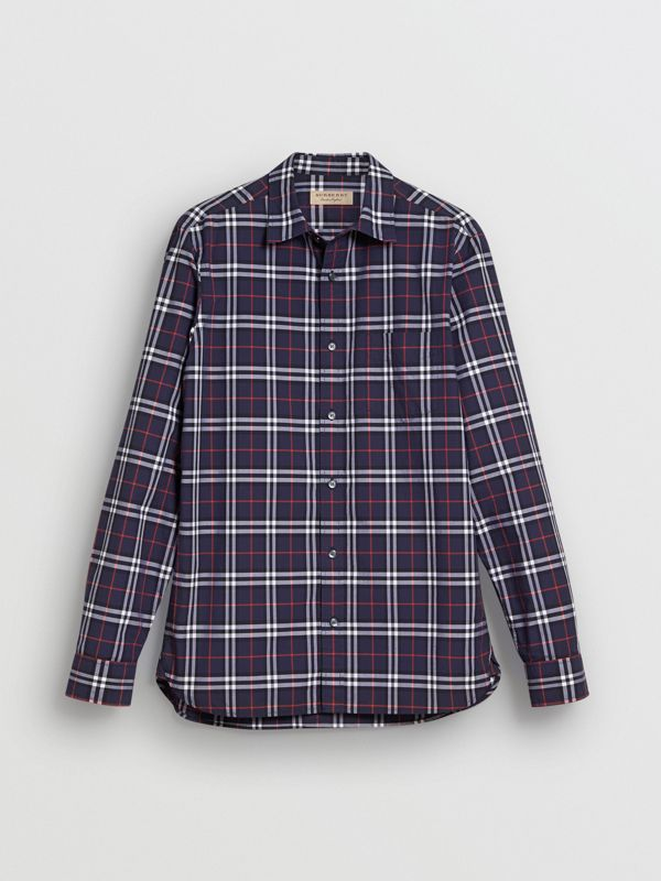 Check Cotton Shirt in Navy - Men | Burberry United States - cell image 3