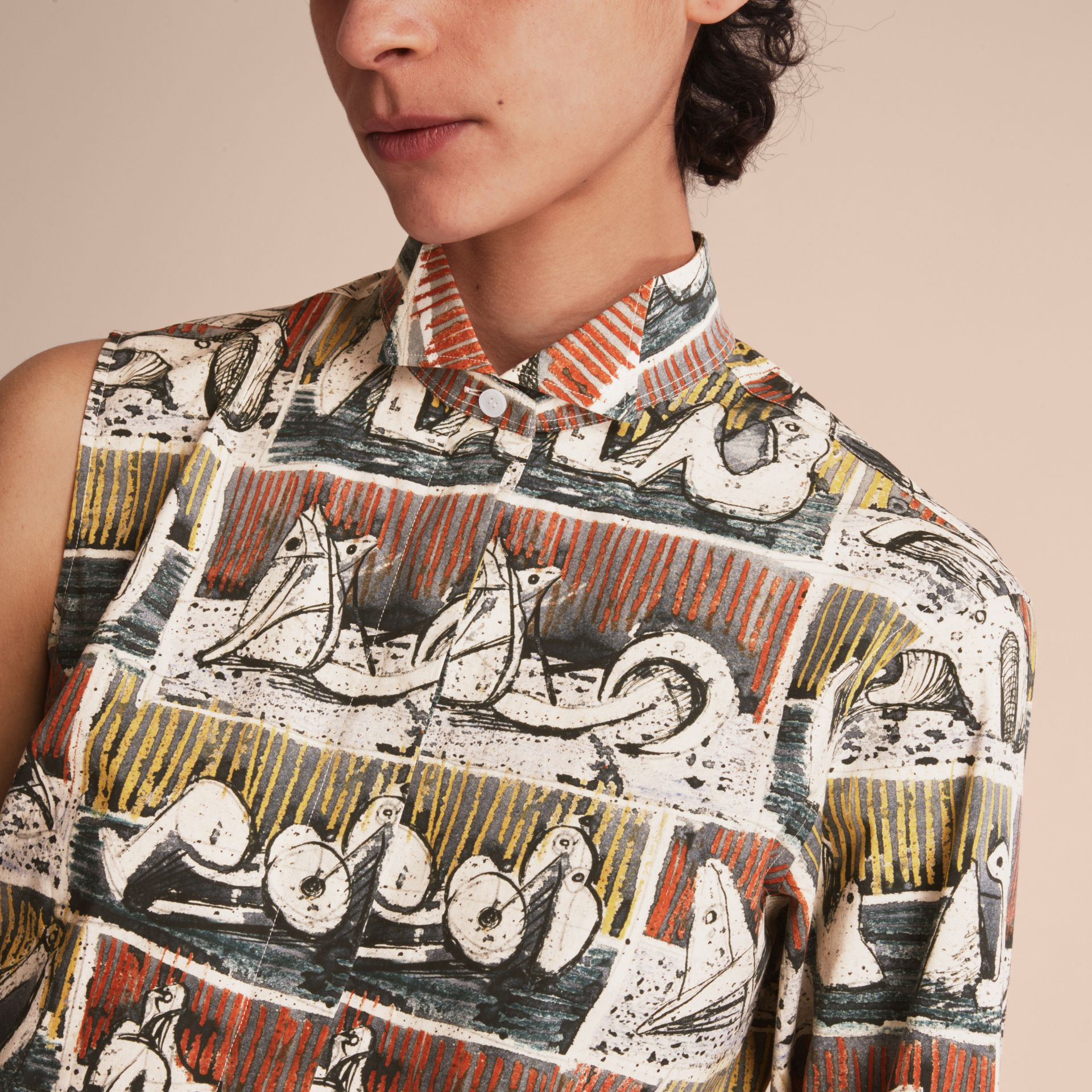One-shoulder Reclining Figures Print Shirt Dress - Women | Burberry - gallery image 5