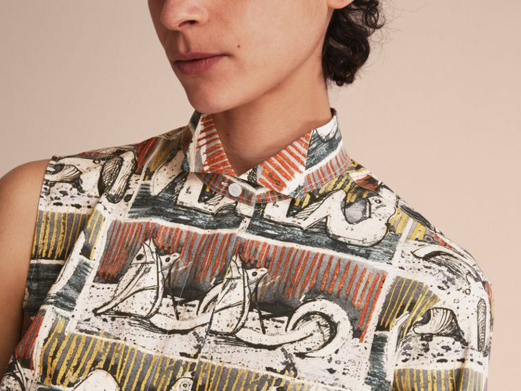 One-shoulder Reclining Figures Print Shirt Dress - Women | Burberry - cell image 4