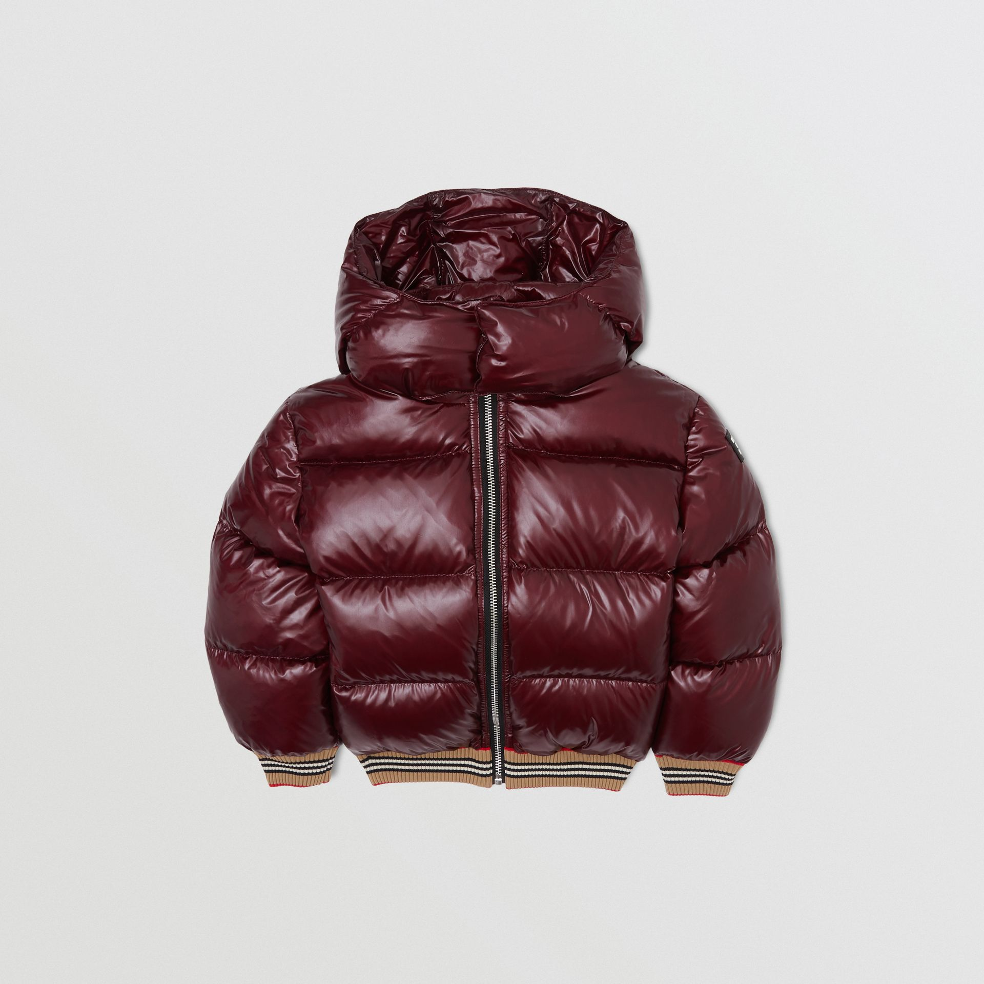 Icon Stripe Detail Hooded Puffer Jacket in Burgundy | Burberry - gallery image 0
