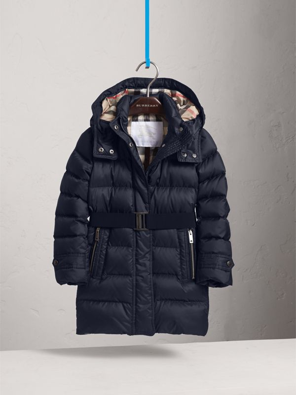Detachable Hood Down-filled Coat in Navy | Burberry - cell image 2