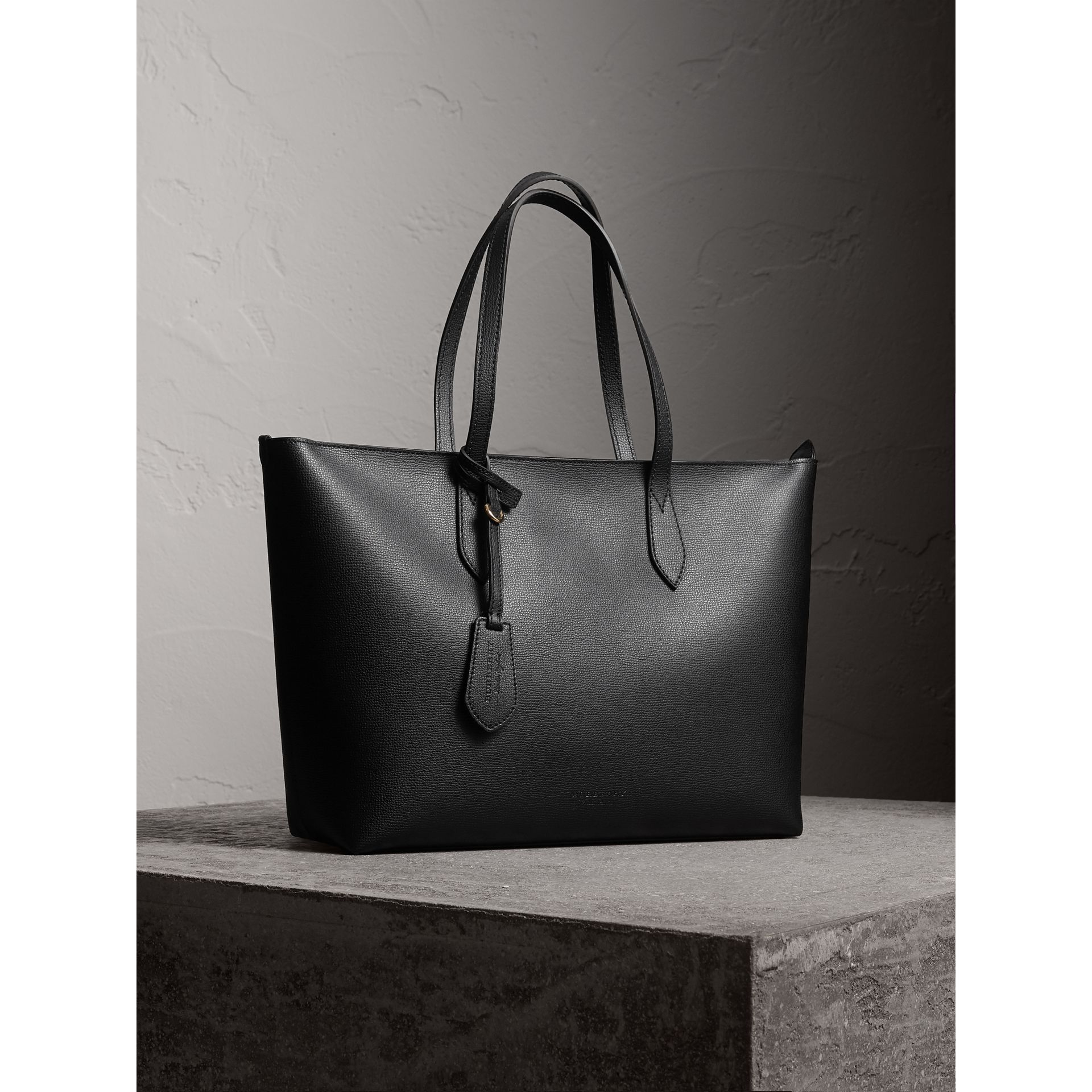 Medium Coated Leather Tote in Black - Women | Burberry - gallery image 6