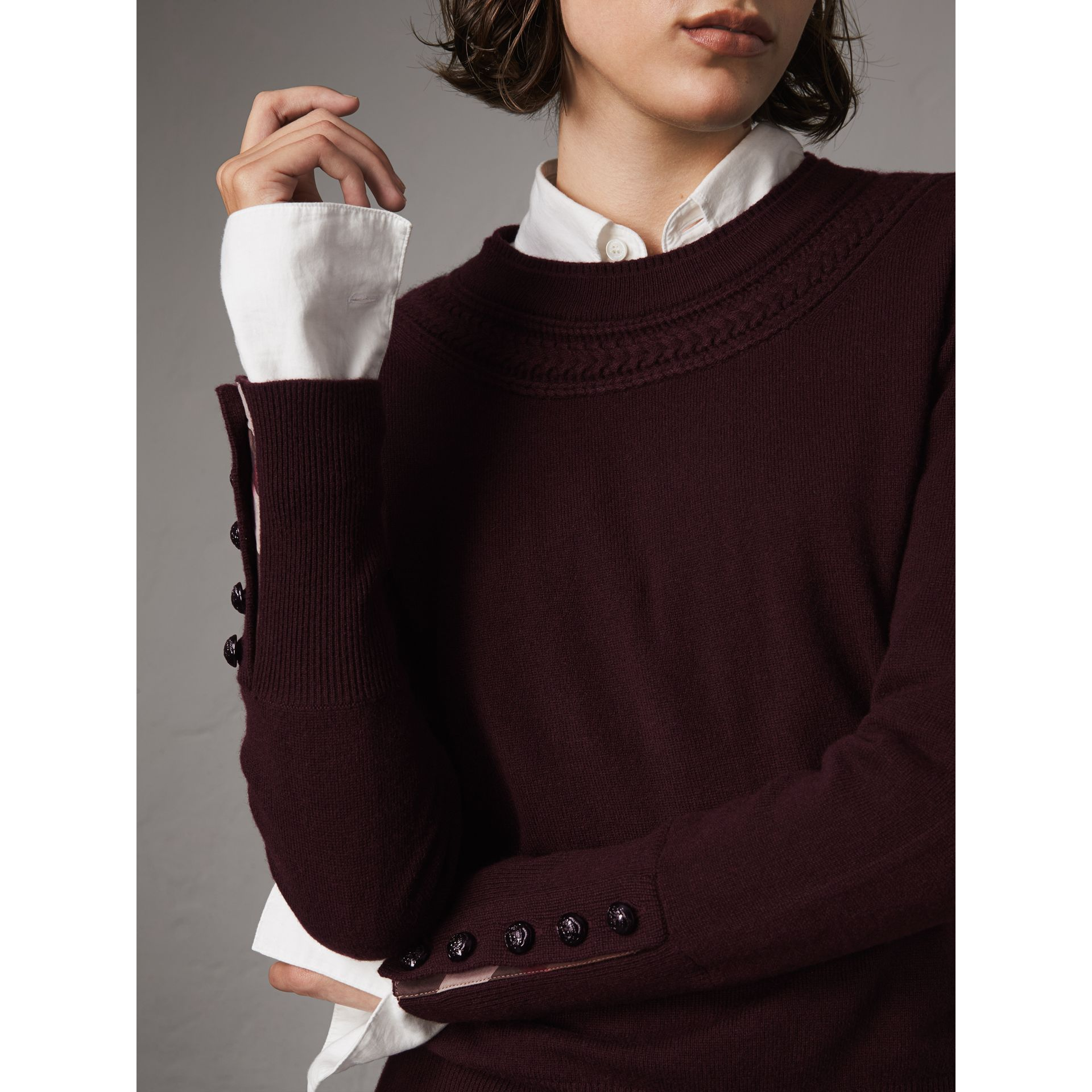 Cable Knit Yoke Cashmere Sweater in Deep Claret - Women | Burberry - gallery image 5