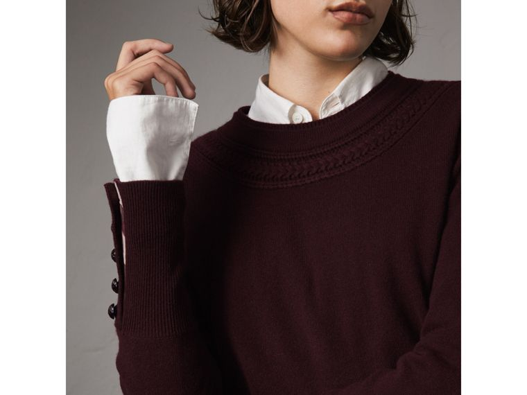 Cable Knit Yoke Cashmere Sweater in Deep Claret - Women | Burberry Hong Kong - cell image 4