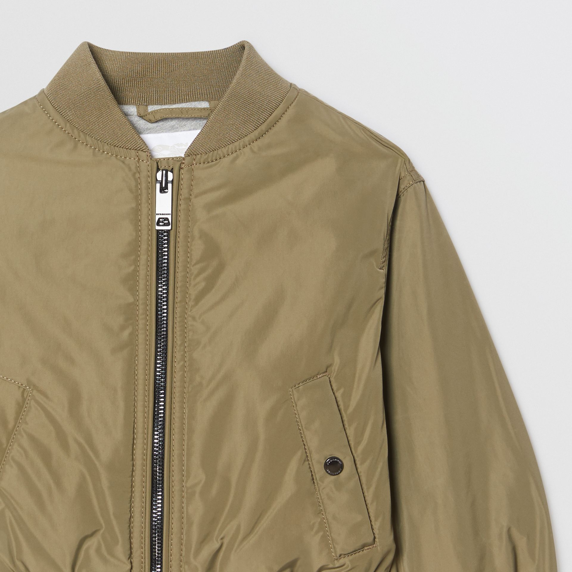 Logo Print Shape-memory Taffeta Bomber Jacket in Khaki - Children | Burberry - gallery image 5