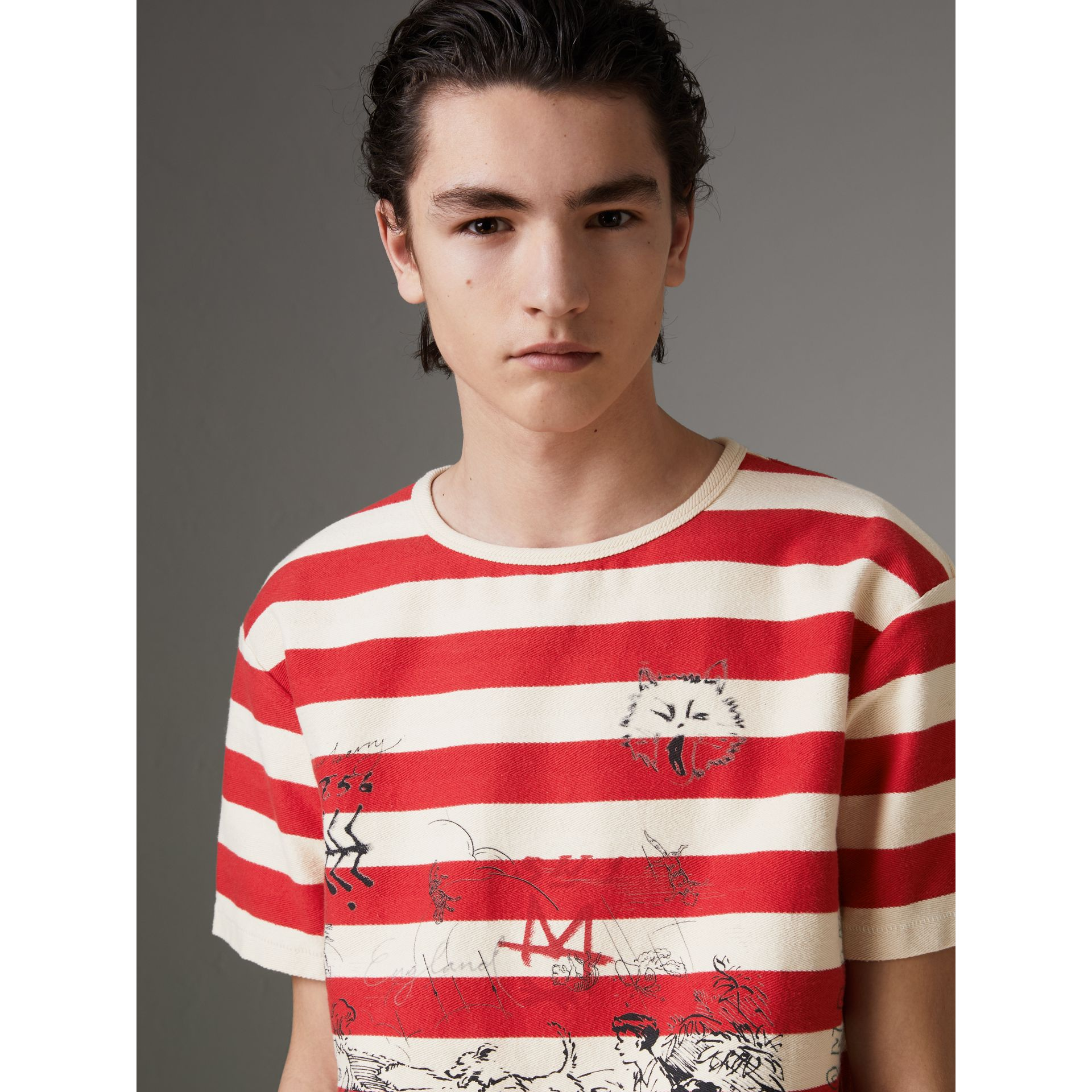 Adventure Print Striped Cotton T-shirt in Off White/parade Red - Men | Burberry - gallery image 1