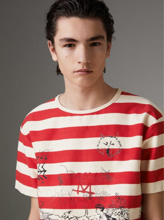 Adventure Print Striped Cotton T-shirt in Off White/parade Red - Men | Burberry United Kingdom - cell image 1