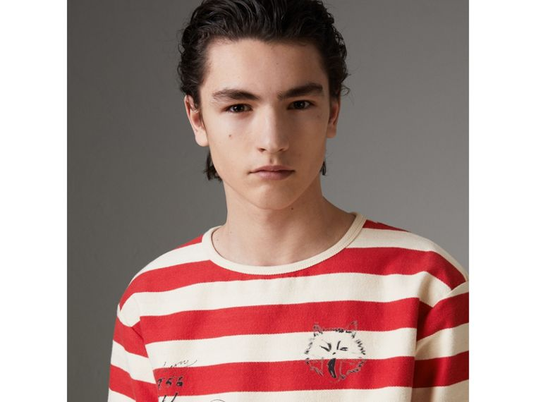 Adventure Print Striped Cotton T-shirt in Off White/parade Red - Men | Burberry - cell image 1