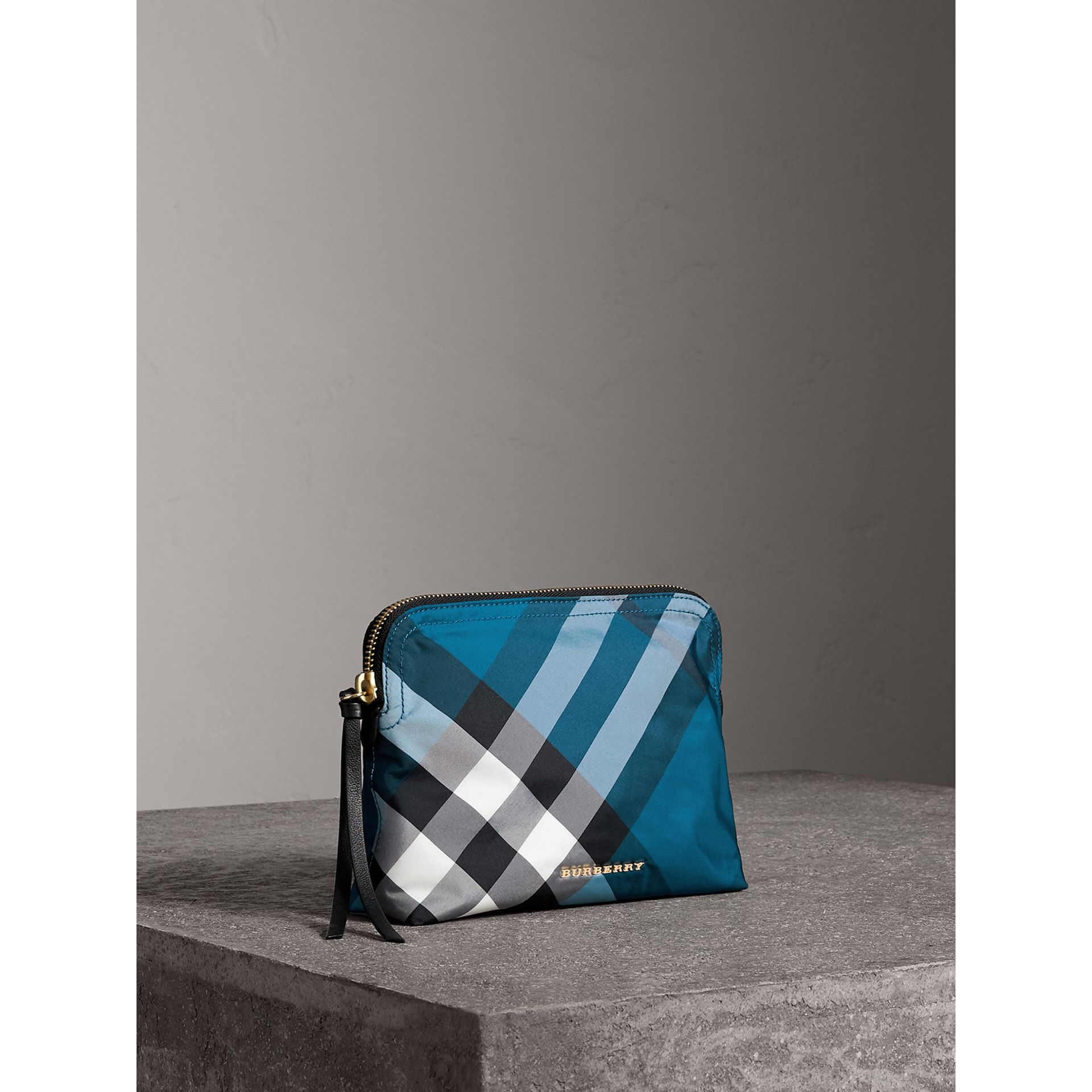 Large Zip-top Check Pouch in Marine Blue - Women | Burberry - gallery image 6