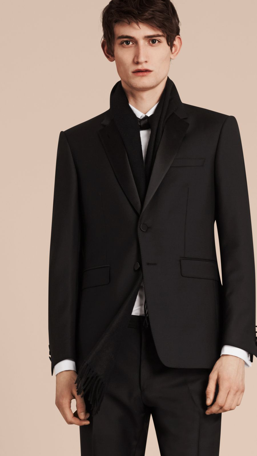 Black Modern Fit Wool Mohair Half-canvas Tuxedo - Image 4