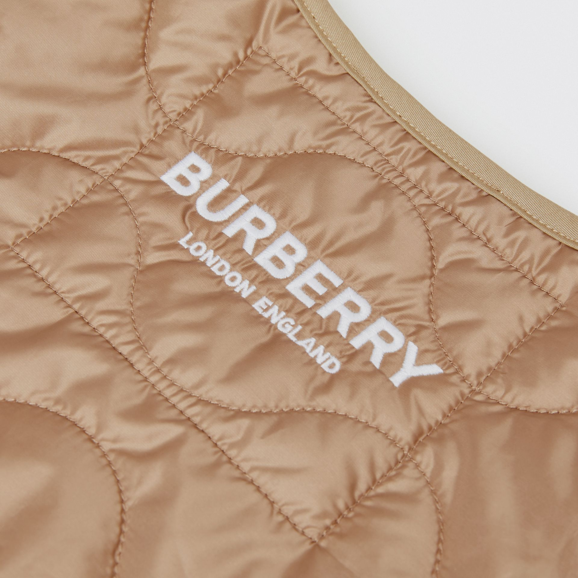 Embroidered Logo Showerproof Quilted Gilet in Honey | Burberry - gallery image 1