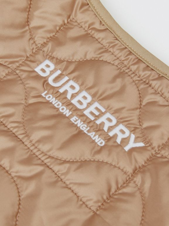 Embroidered Logo Showerproof Quilted Gilet in Honey | Burberry - cell image 1