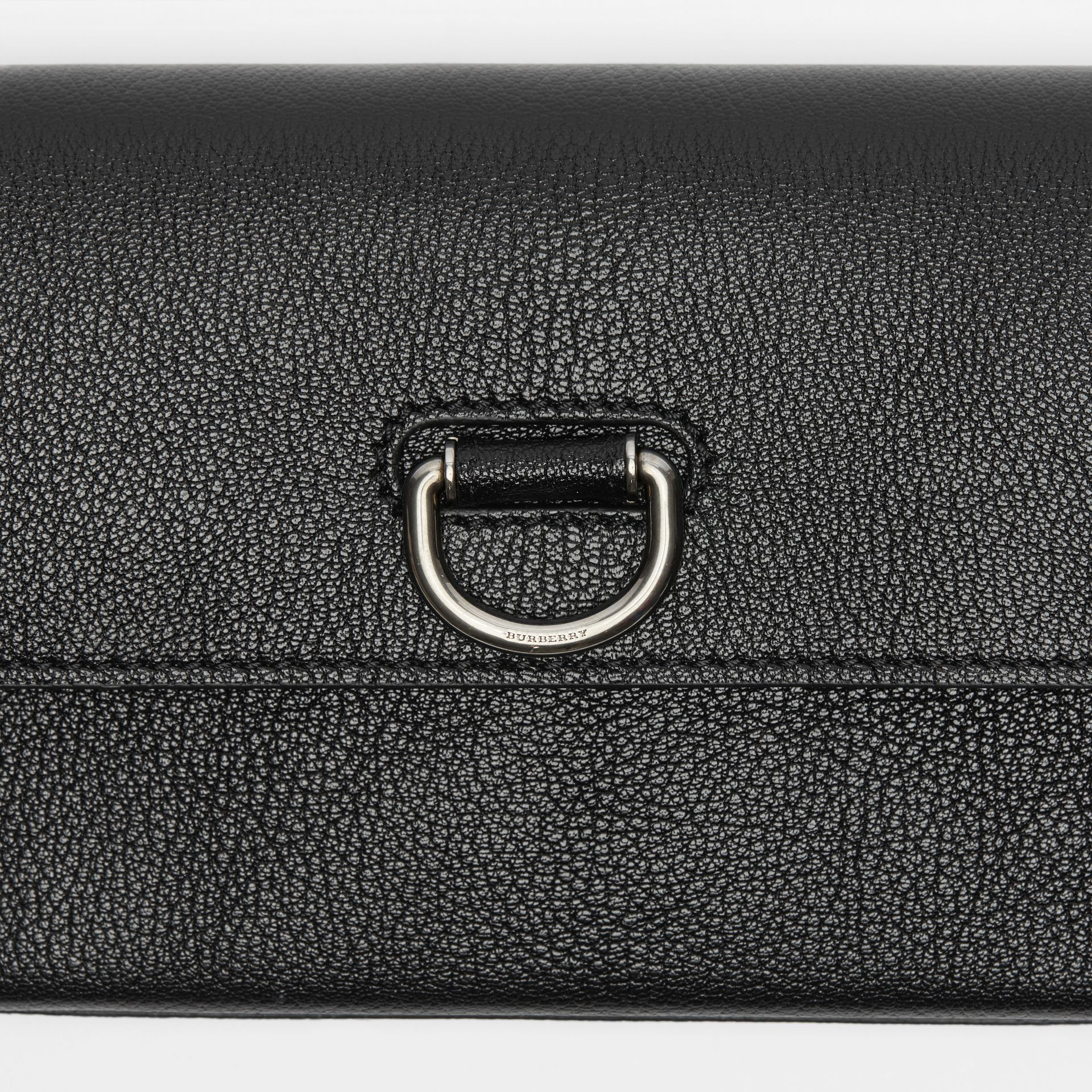 D-ring Leather Wallet with Detachable Strap in Black - Women | Burberry - gallery image 1