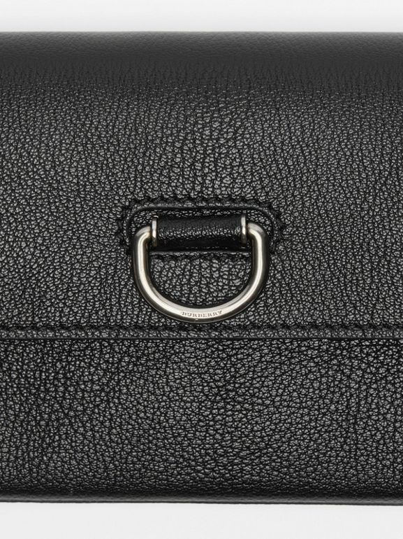D-ring Leather Wallet with Detachable Strap in Black - Women | Burberry - cell image 1