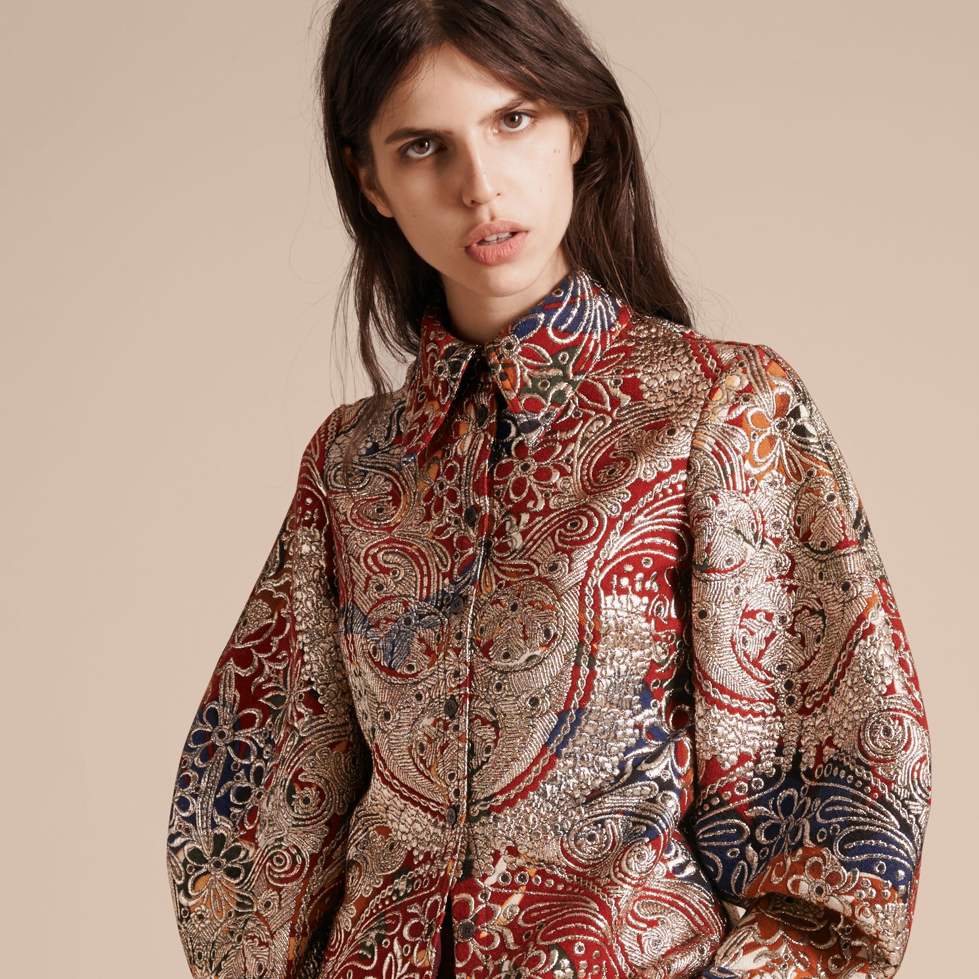 Russet brown Metallic Floral Jacquard Sculptured Sleeve Shirt - gallery image 6