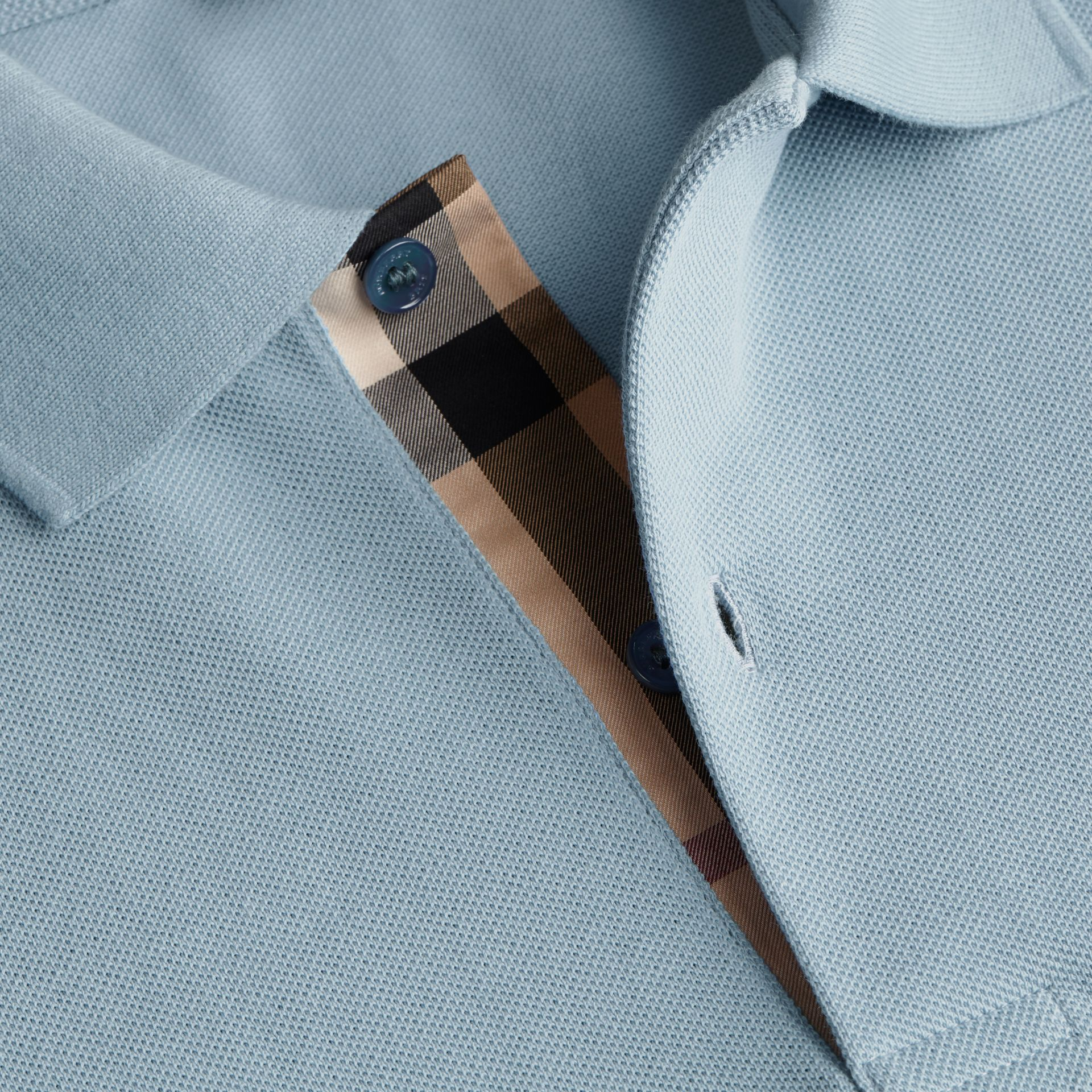 Check Placket Cotton Piqué Polo Shirt Pale Blue - gallery image 2