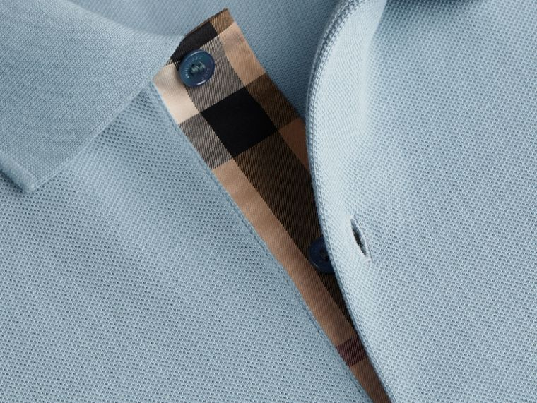 Check Placket Cotton Piqué Polo Shirt in Pale Blue - cell image 1