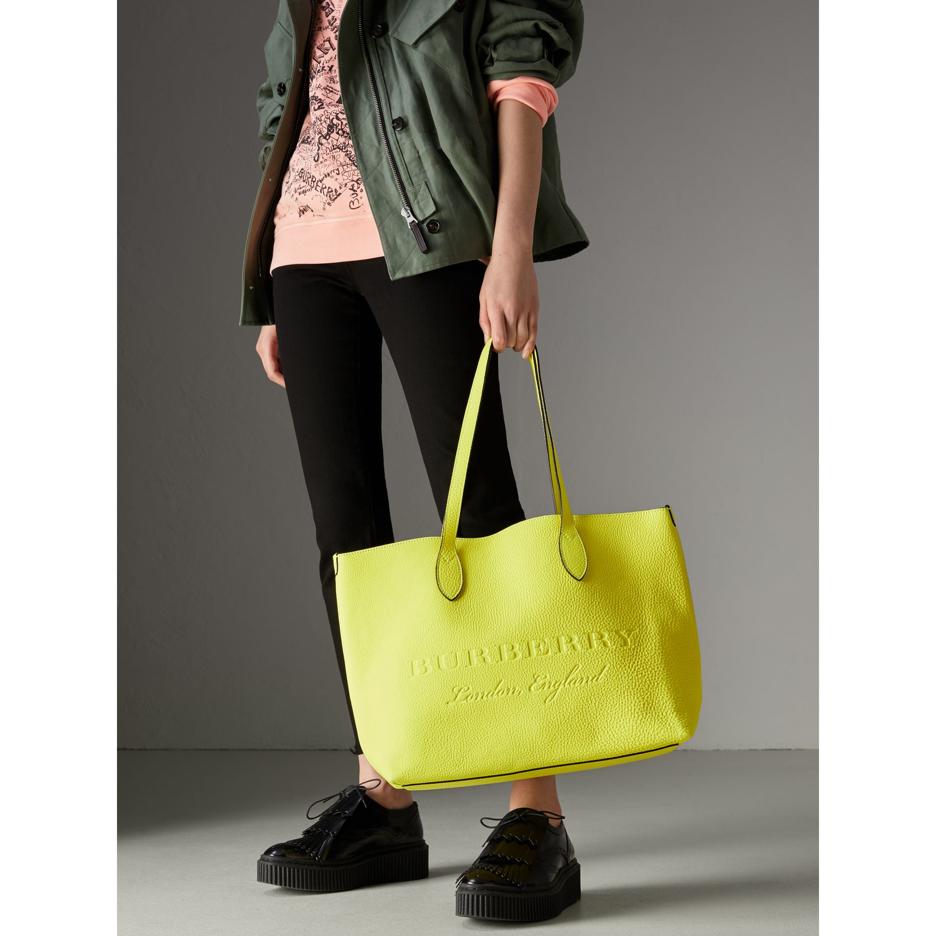 Embossed Leather Tote in Neon Yellow | Burberry - gallery image 6