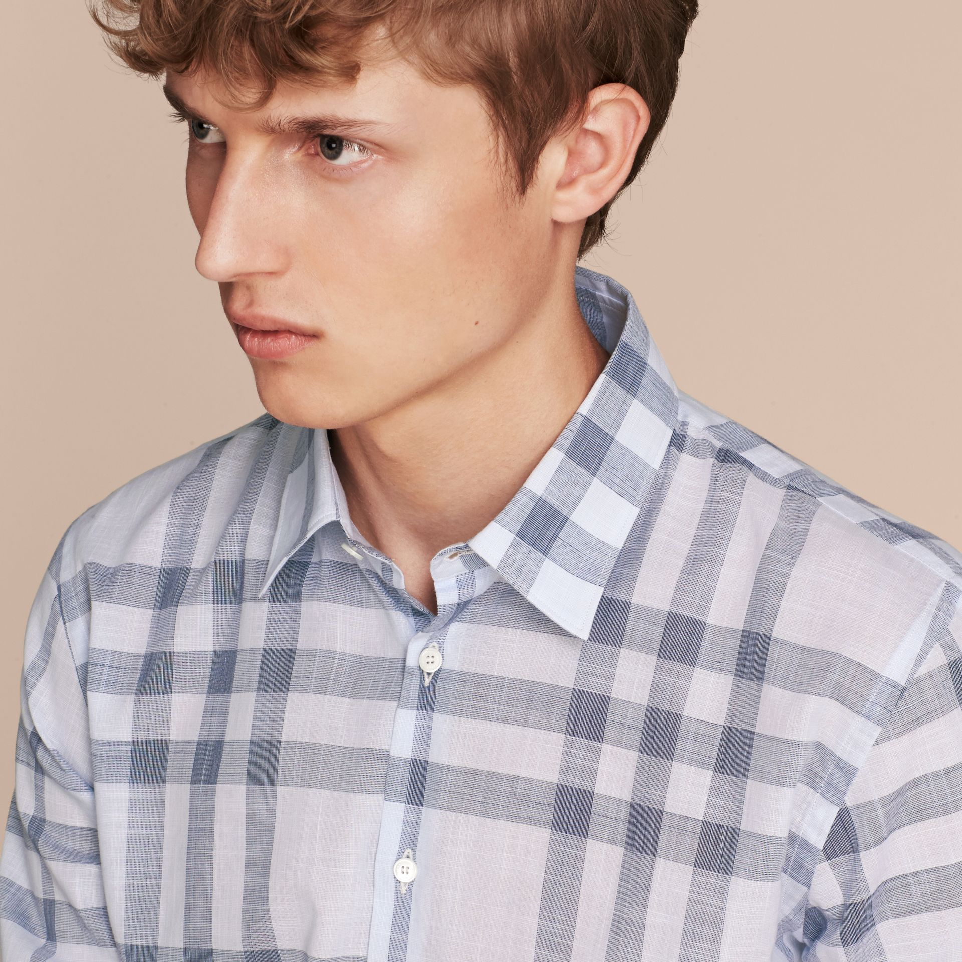 Mineral blue Check Cotton Chambray Shirt Mineral Blue - gallery image 5