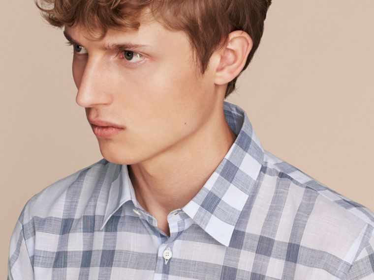 Mineral blue Check Cotton Chambray Shirt Mineral Blue - cell image 4