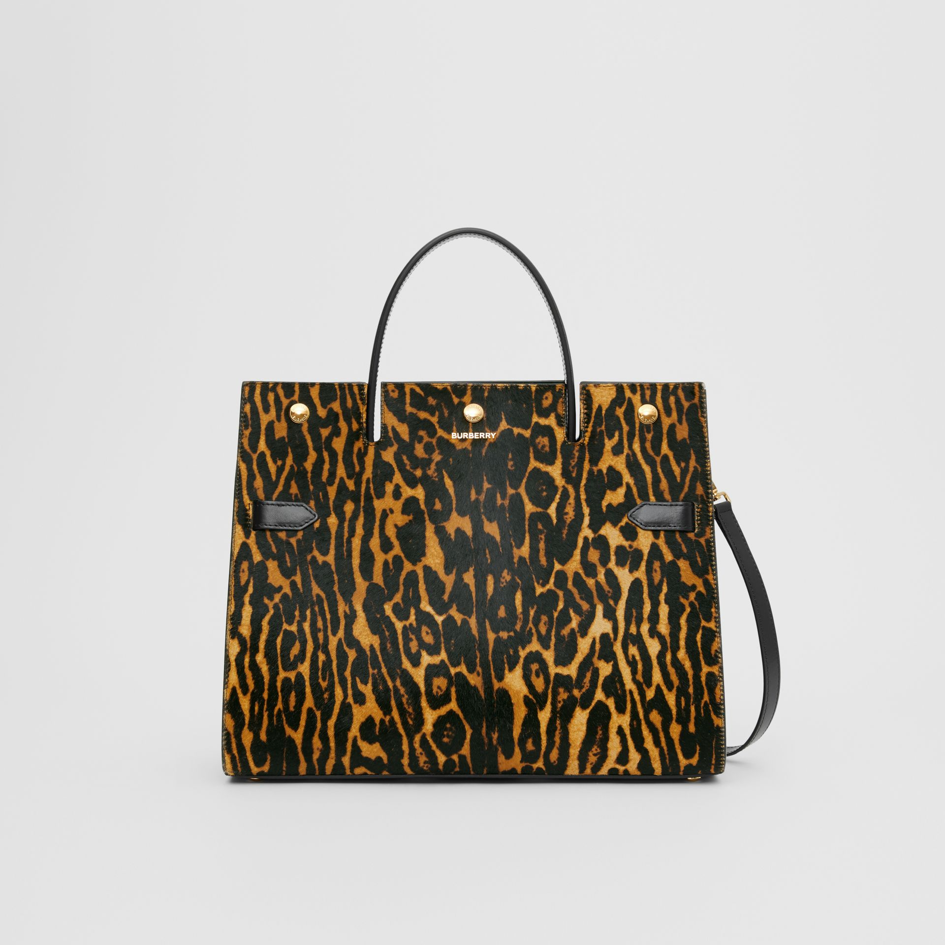 Medium Leopard Print Calf Hair and Leather Title Bag in Black - Women | Burberry United States - gallery image 0