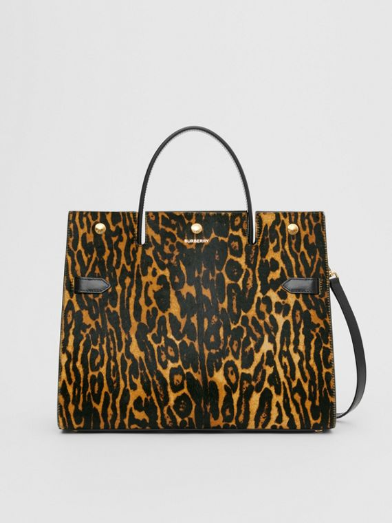 Medium Leopard Print Calf Hair and Leather Title Bag in Black