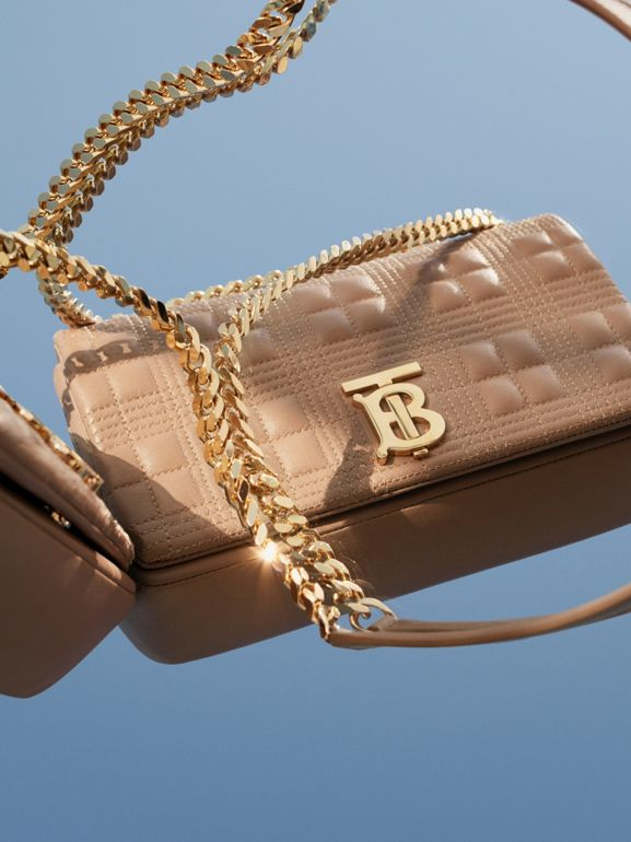 Small Quilted Check Lambskin Lola Bag in Camel | Burberry - cell image 1