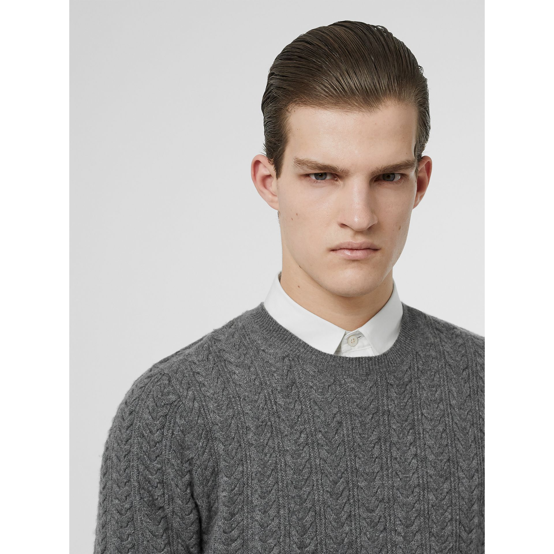 Cable Knit Cashmere Sweater in Mid Grey Melange - Men | Burberry - gallery image 1
