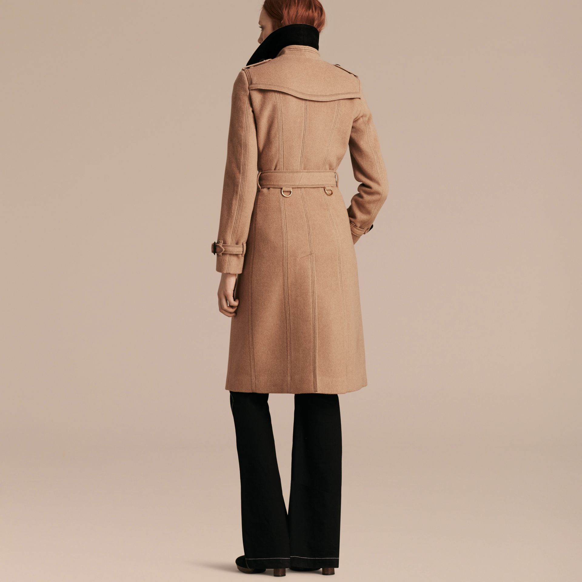 Camel Slim Fit Wool Cashmere Trench Coat - gallery image 3
