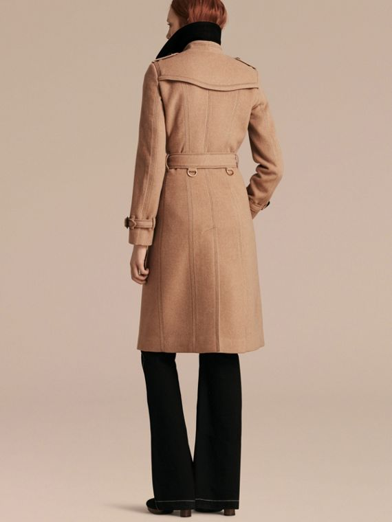 Camel Slim Fit Wool Cashmere Trench Coat - cell image 2