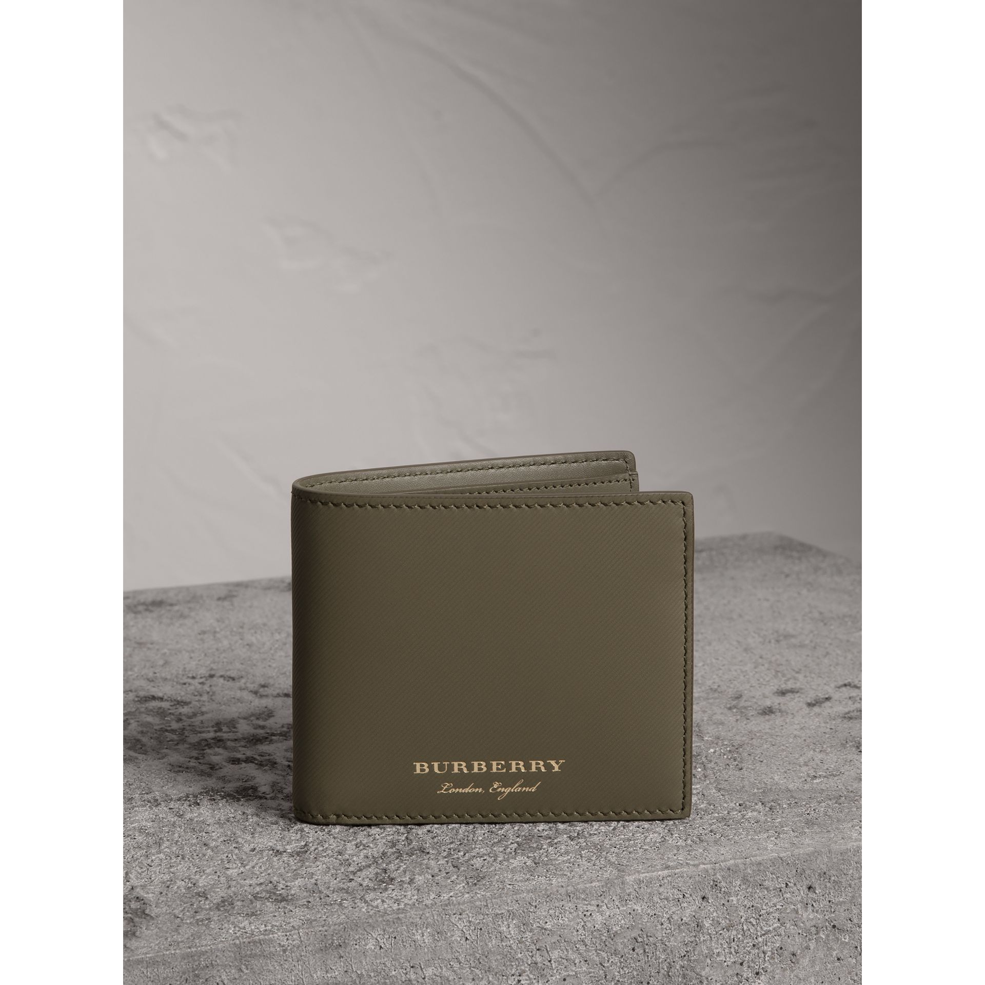 Trench Leather International Bifold Wallet in Slate Green - Men | Burberry United States - gallery image 4