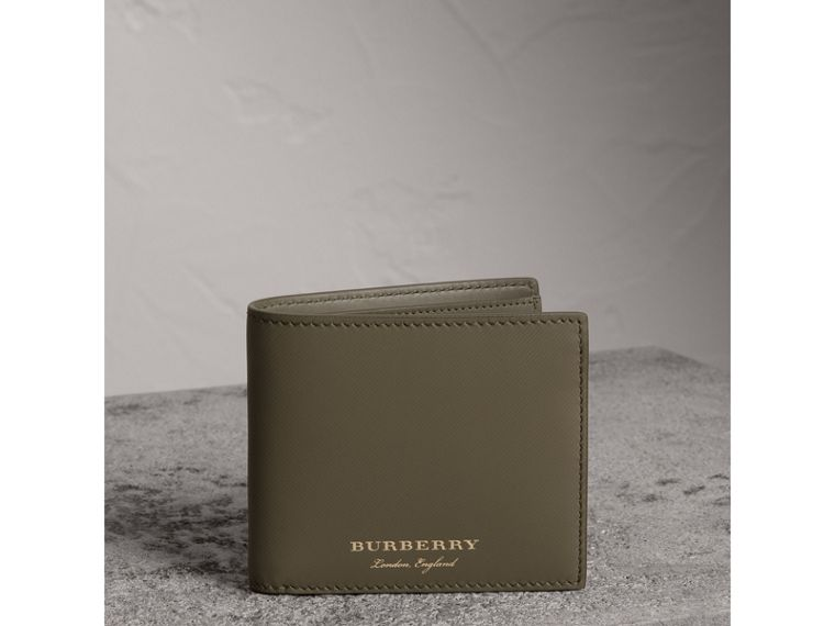 Trench Leather International Bifold Wallet in Slate Green - Men | Burberry - cell image 4