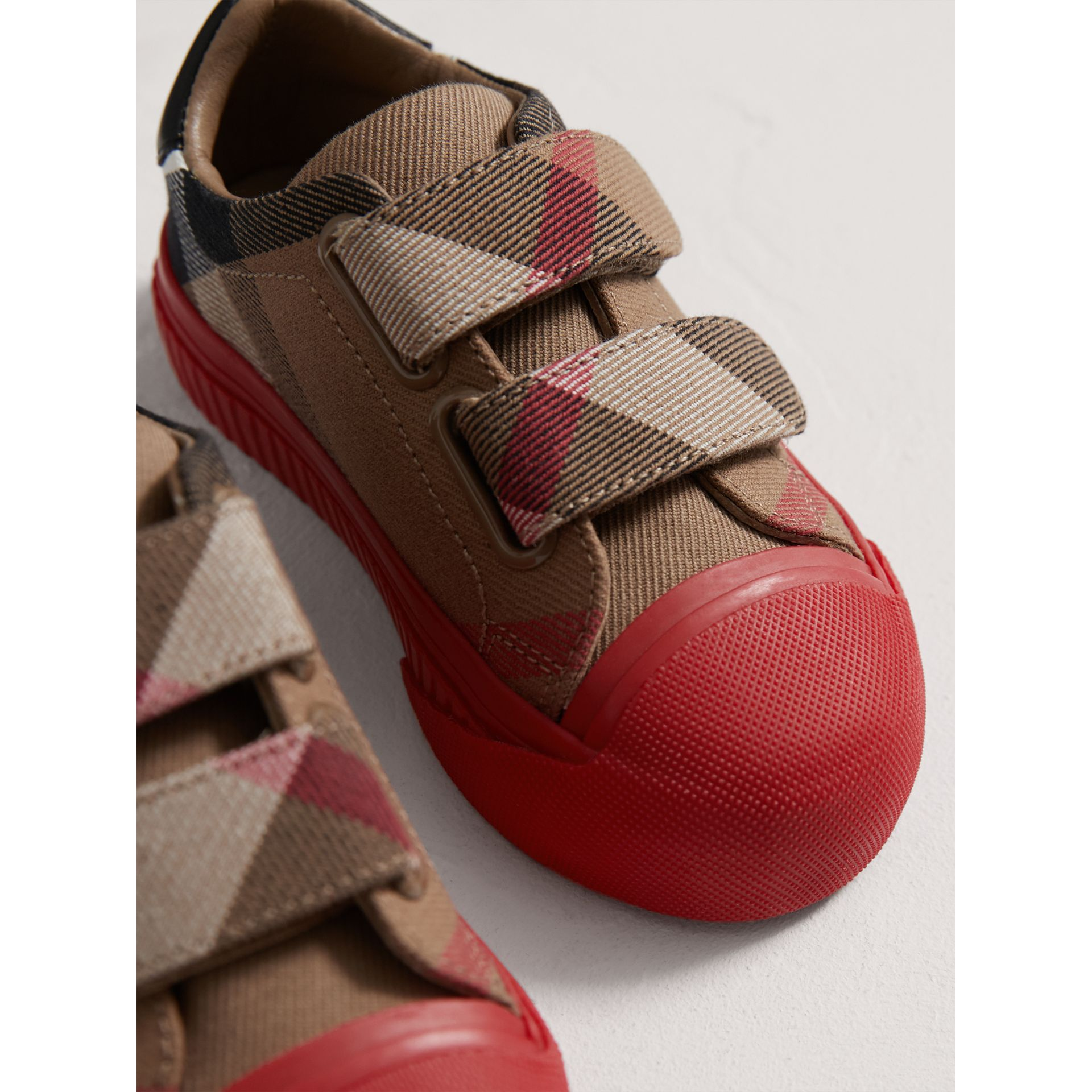 House Check and Leather Trainers in Classic/parade Red | Burberry - gallery image 3