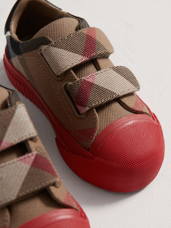 House Check and Leather Trainers in Classic/parade Red | Burberry - cell image 3