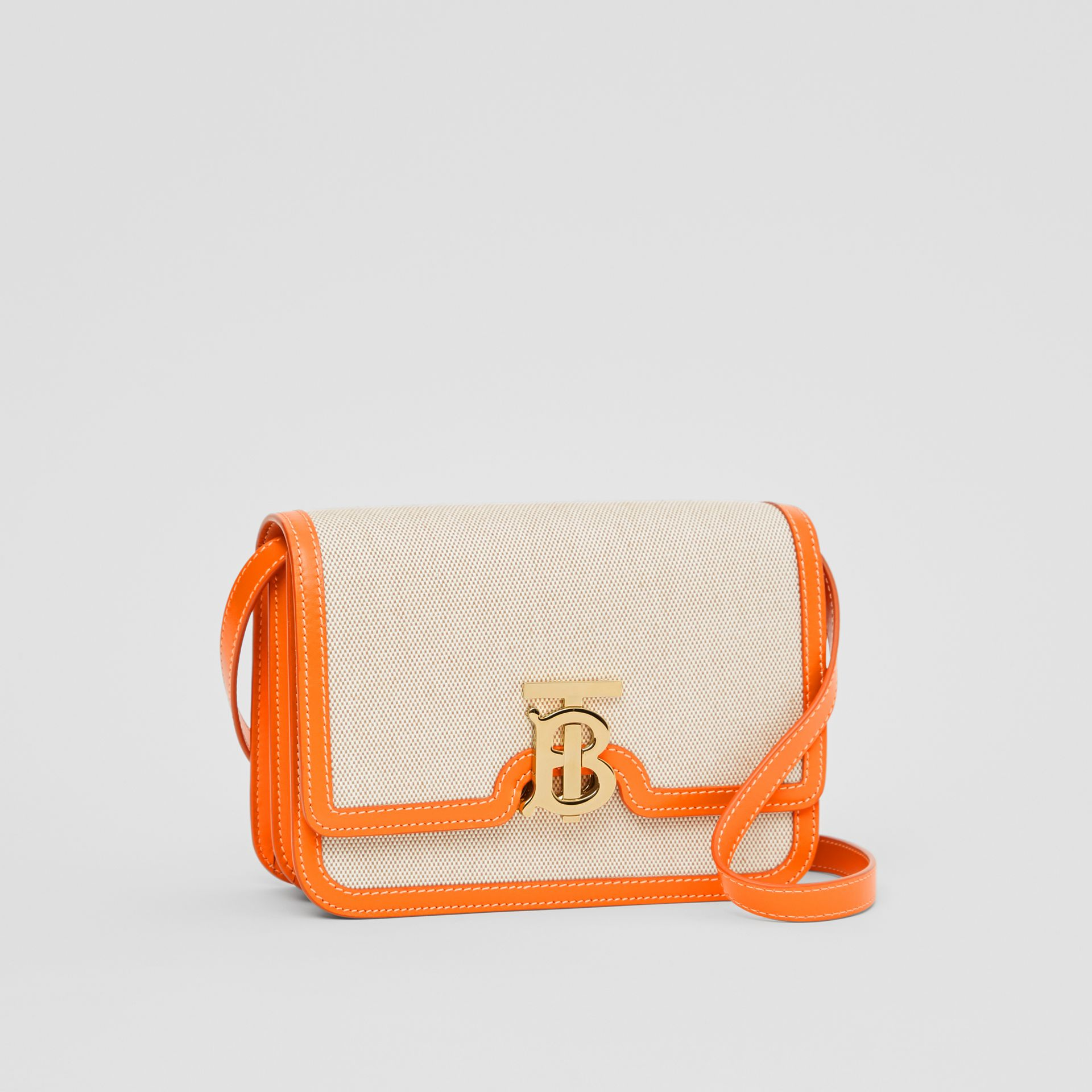 Small Two-tone Canvas and Leather TB Bag in Orange - Women | Burberry - gallery image 4