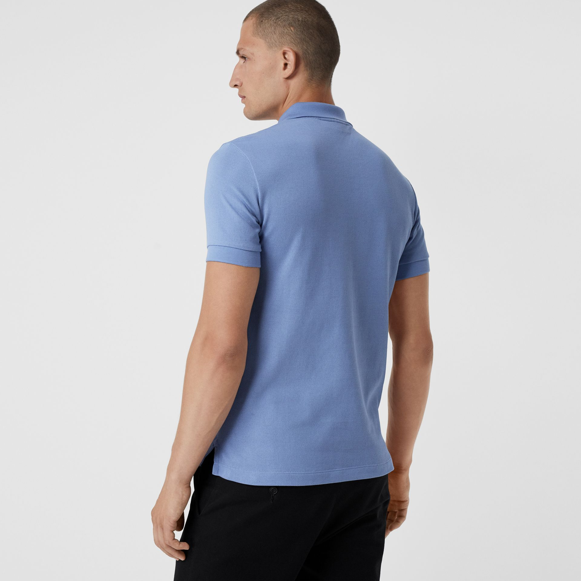 Check Placket Cotton Piqué Polo Shirt in Light Blue - Men | Burberry - gallery image 2