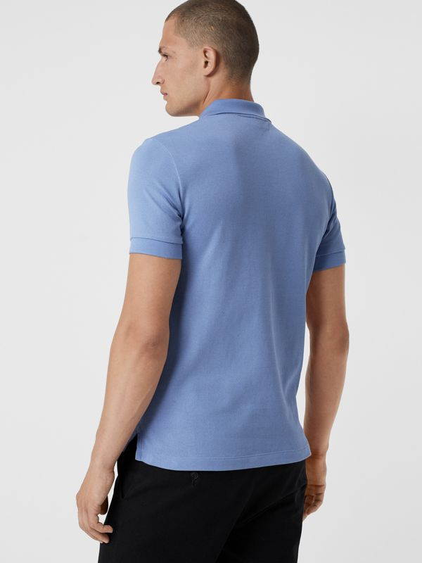 Check Placket Cotton Piqué Polo Shirt in Light Blue - Men | Burberry - cell image 2